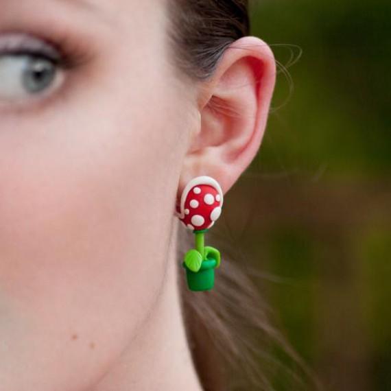 Boucles d'oreilles plante carnivore piranha Mario