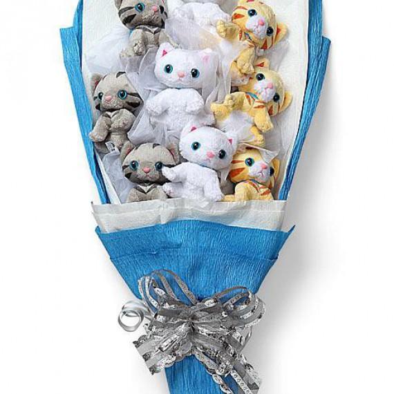 Bouquet de chatons en peluche