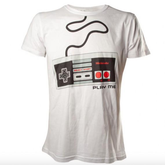 T-shirt Nintendo Blanc Manette NES Play Me
