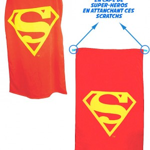 SERVIETTE SUPERMAN CONVERTIBLE EN CAPE ROUGE LOGO JAUNE