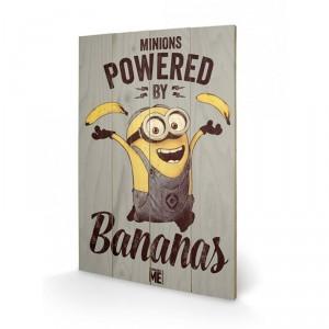 Panneau en bois Minions Bananas