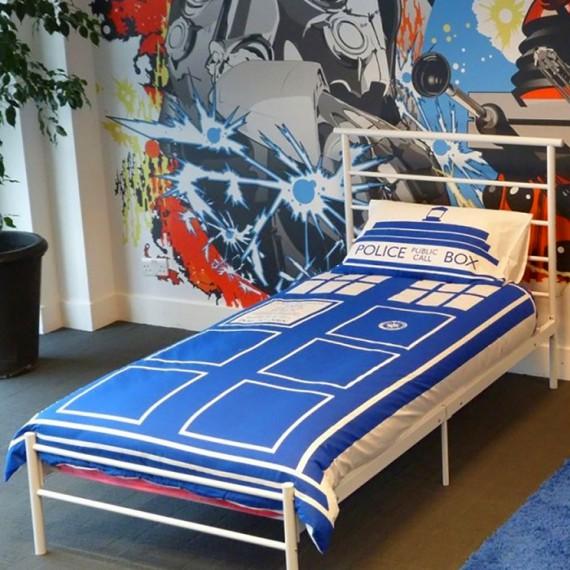 parure de lit tardis doctor who. Black Bedroom Furniture Sets. Home Design Ideas