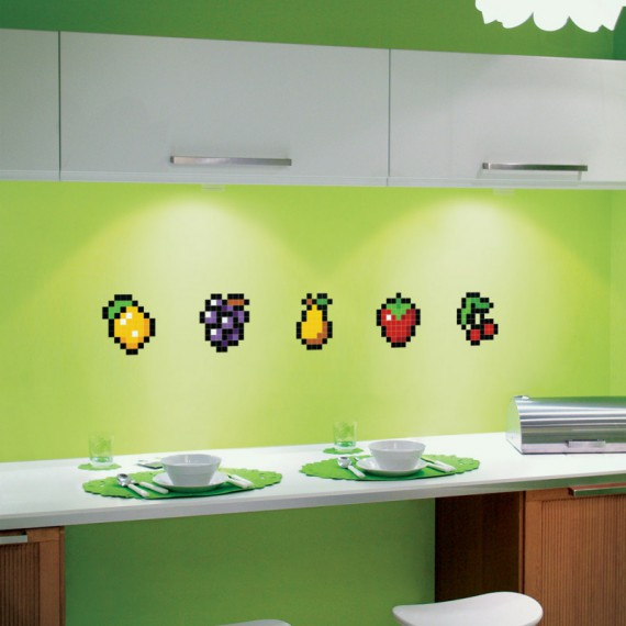 Stickers en forme de fruits pixels