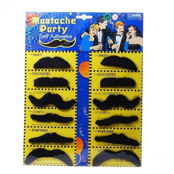 Lot de 12 moustaches adhésives