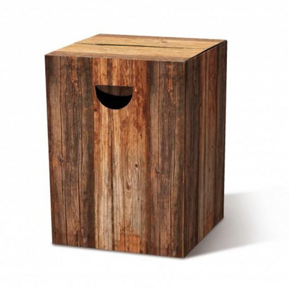 Tabouret en carton bûche de bois