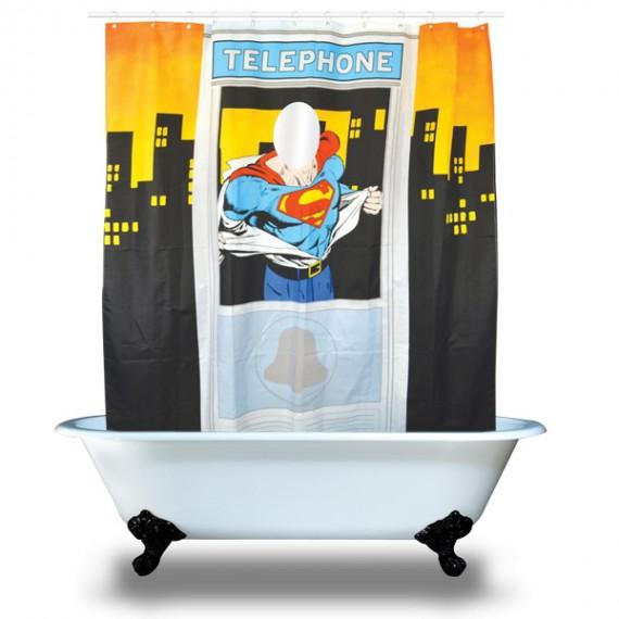 rideau de douche original superman cabine t l phonique. Black Bedroom Furniture Sets. Home Design Ideas