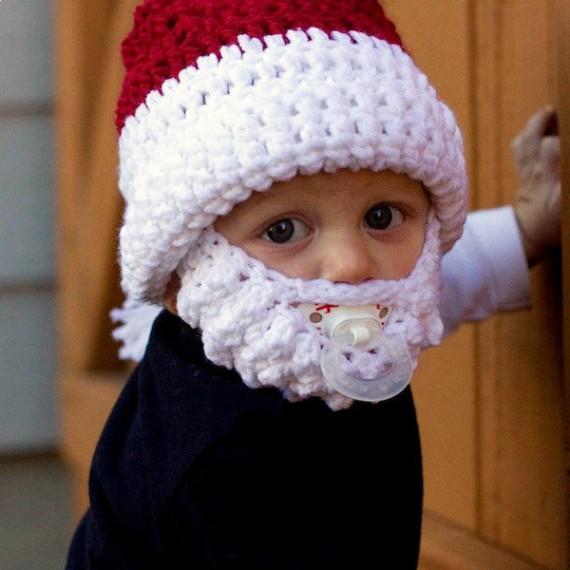 Bonnet rouge et blanc avec barbe de père Noël pour enfant