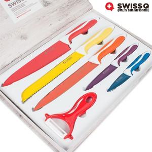 5 couteux en céramique avec coffret de rangement