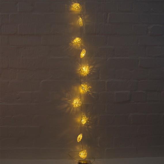 Guirlande coeur en rottin LED