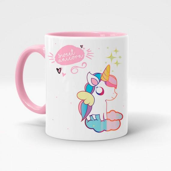 Mug rose tête de licorne