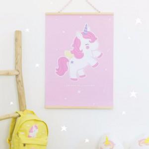 Affiche bébé licorne rose