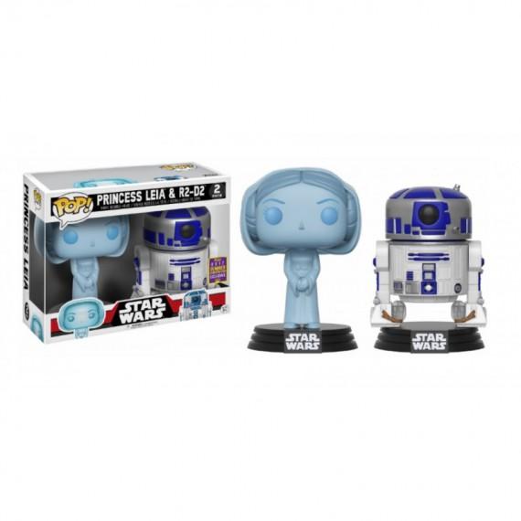 Figurine POP Star Wars - Bi Pack Leia Holographic & R2-D2