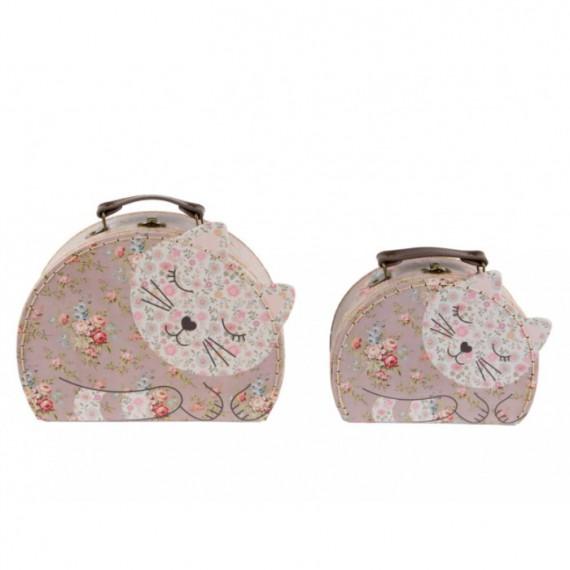 Set de 2 valises gigognes chat motif floral