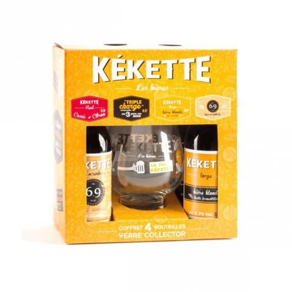 Coffret cadeau KEKETTE - 4 bières 0,33cl + 1 verre collector