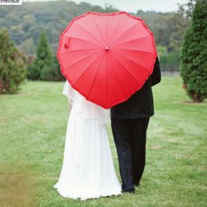 Parapluie Coeur Rouge Romantique