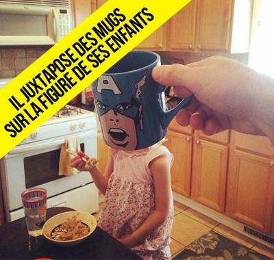 Ce père juxtapose des mugs avec la réalité transformant ses enfants, génial