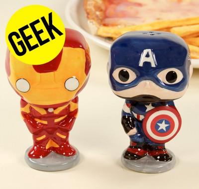 Salière et poivrière POP Captain America et Iron Man